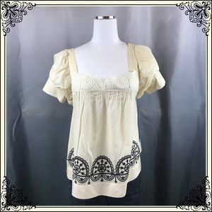 Anthro Lithe Cream/Blk Lace Top #2351